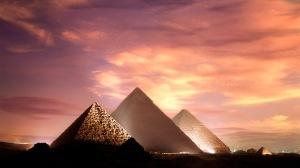 The Pyramids at Giza illuminated at dusk